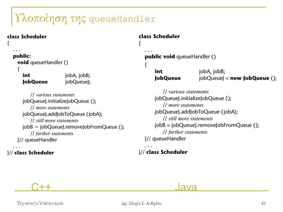 Τεχνολογία Υπολογισμού Δρ. Μαρία Ι. Ανδρέου 61 Υλοποίηση της queueHandler C++ Java