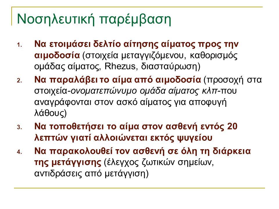 Νοσηλευτική παρέμβαση 1. Να ετοιμάσει δελτίο αίτησης αίματος προς την αιμοδοσία (στοιχεία μεταγγιζόμενου, καθορισμός ομάδας αίματος, Rhezus, διασταύρω