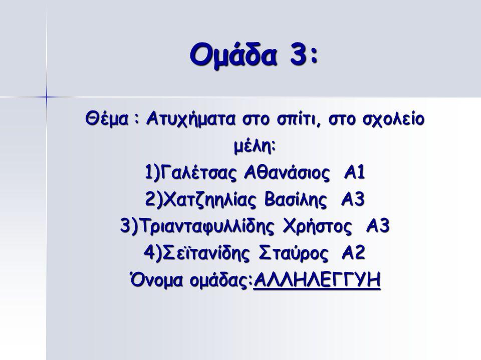 Ομάδα 2: Θέμα: Ατυχήματα στο νερό μέλη: 1)Σαμαράς Δημήτριος Α2 2)Μπουτζιολόγλου Ιορδάνης Α2 3)Δελίμπαμίδης Ανδρέας Α1 4)Βουλδούκη Σαββίνα Α1 Όνομα ομά
