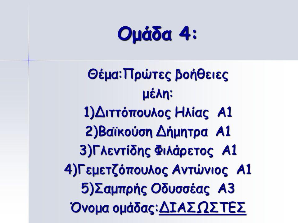 Ομάδα 3: Θέμα : Ατυχήματα στο σπίτι, στο σχολείο μέλη: 1)Γαλέτσας Αθανάσιος Α1 2)Χατζηηλίας Βασίλης Α3 3)Τριανταφυλλίδης Χρήστος Α3 4)Σεϊτανίδης Σταύρ