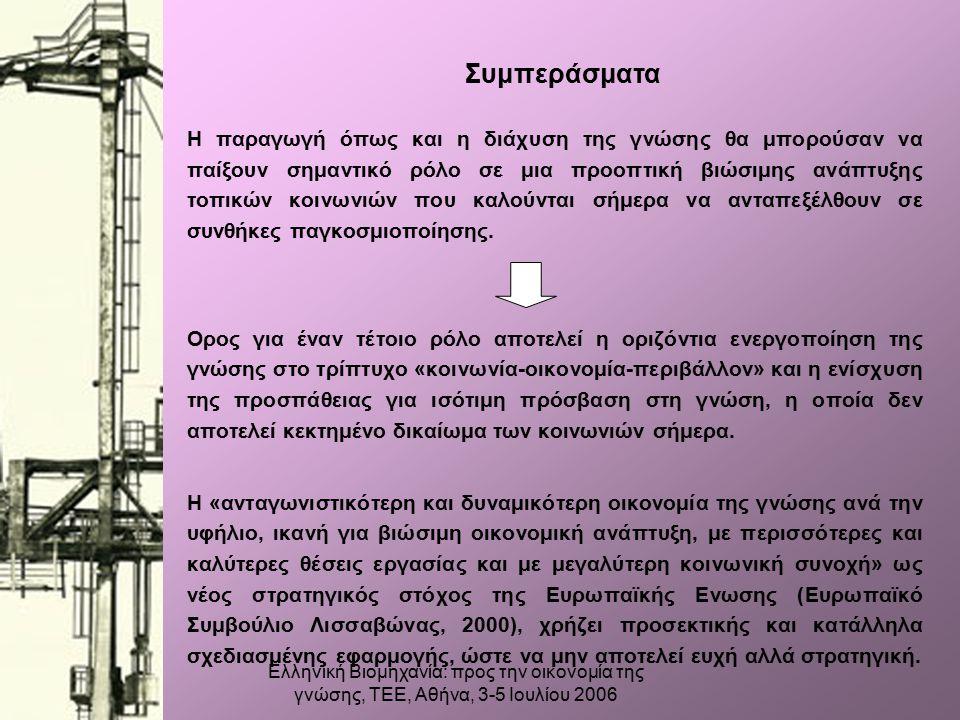 Ελληνική Βιομηχανία: προς την οικονομία της γνώσης, ΤΕΕ, Αθήνα, 3-5 Ιουλίου 2006 Συμπεράσματα Η παραγωγή όπως και η διάχυση της γνώσης θα μπορούσαν να παίξουν σημαντικό ρόλο σε μια προοπτική βιώσιμης ανάπτυξης τοπικών κοινωνιών που καλούνται σήμερα να ανταπεξέλθουν σε συνθήκες παγκοσμιοποίησης.