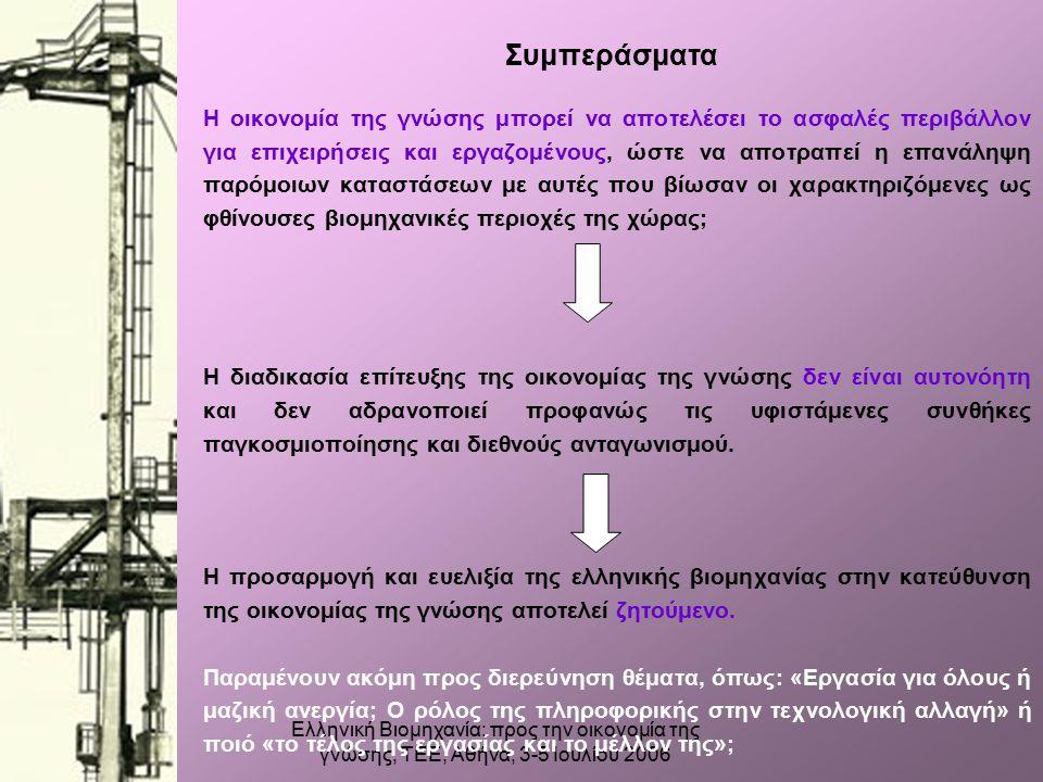 Ελληνική Βιομηχανία: προς την οικονομία της γνώσης, ΤΕΕ, Αθήνα, 3-5 Ιουλίου 2006 Συμπεράσματα Η οικονομία της γνώσης μπορεί να αποτελέσει το ασφαλές περιβάλλον για επιχειρήσεις και εργαζομένους, ώστε να αποτραπεί η επανάληψη παρόμοιων καταστάσεων με αυτές που βίωσαν οι χαρακτηριζόμενες ως φθίνουσες βιομηχανικές περιοχές της χώρας; Η διαδικασία επίτευξης της οικονομίας της γνώσης δεν είναι αυτονόητη και δεν αδρανοποιεί προφανώς τις υφιστάμενες συνθήκες παγκοσμιοποίησης και διεθνούς ανταγωνισμού.