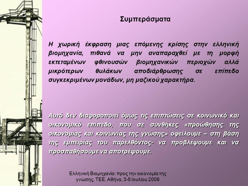 Ελληνική Βιομηχανία: προς την οικονομία της γνώσης, ΤΕΕ, Αθήνα, 3-5 Ιουλίου 2006 Συμπεράσματα Η χωρική έκφραση μιας επόμενης κρίσης στην ελληνική βιομηχανία, πιθανά να μην αναπαραχθεί με τη μορφή εκτεταμένων φθινουσών βιομηχανικών περιοχών αλλά μικρότερων θυλάκων αποδιάρθρωσης σε επίπεδο συγκεκριμένων μονάδων, μη μαζικού χαρακτήρα.