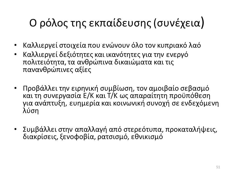 51 Ο ρόλος της εκπαίδευσης (συνέχεια ) Καλλιεργεί στοιχεία που ενώνουν όλο τον κυπριακό λαό Καλλιεργεί δεξιότητες και ικανότητες για την ενεργό πολιτειότητα, τα ανθρώπινα δικαιώματα και τις πανανθρώπινες αξίες Προβάλλει την ειρηνική συμβίωση, τον αμοιβαίο σεβασμό και τη συνεργασία Ε/Κ και Τ/Κ ως απαραίτητη προϋπόθεση για ανάπτυξη, ευημερία και κοινωνική συνοχή σε ενδεχόμενη λύση Συμβάλλει στην απαλλαγή από στερεότυπα, προκαταλήψεις, διακρίσεις, ξενοφοβία, ρατσισμό, εθνικισμό