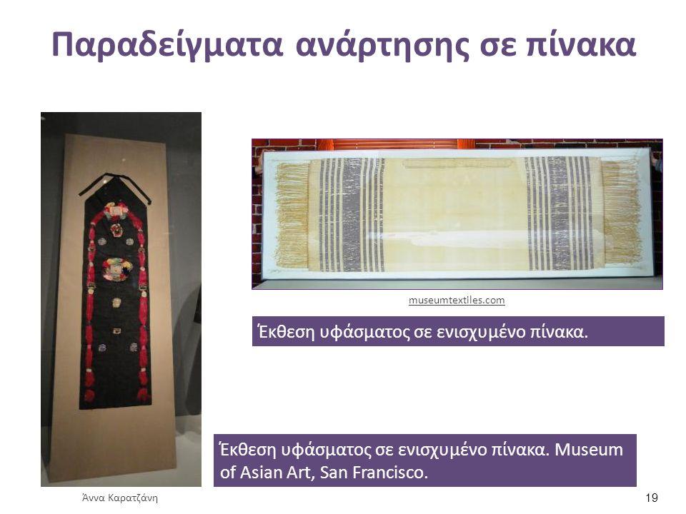 Παραδείγματα ανάρτησης σε πίνακα Έκθεση υφάσματος σε ενισχυμένο πίνακα. Museum of Asian Art, San Francisco. Άννα Καρατζάνη Έκθεση υφάσματος σε ενισχυμ