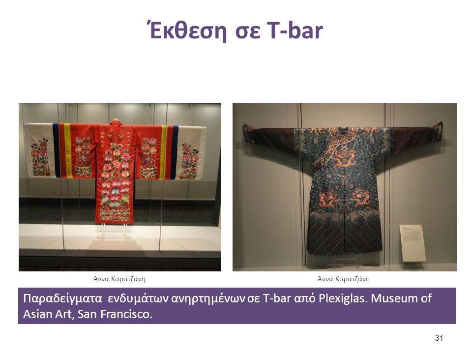 Έκθεση σε T-bar Παραδείγματα ενδυμάτων ανηρτημένων σε T-bar από Plexiglas. Museum of Asian Art, San Francisco. Άννα Καρατζάνη 31