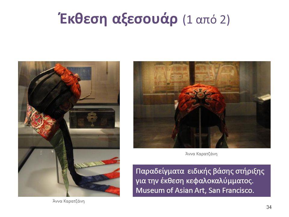 Έκθεση αξεσουάρ (1 από 2) Παραδείγματα ειδικής βάσης στήριξης για την έκθεση κεφαλοκαλύμματος. Museum of Asian Art, San Francisco. Άννα Καρατζάνη 34
