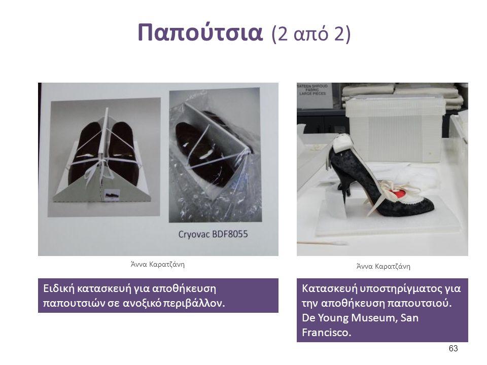 Παπούτσια (2 από 2) Ειδική κατασκευή για αποθήκευση παπουτσιών σε ανοξικό περιβάλλον. Άννα Καρατζάνη Κατασκευή υποστηρίγματος για την αποθήκευση παπου