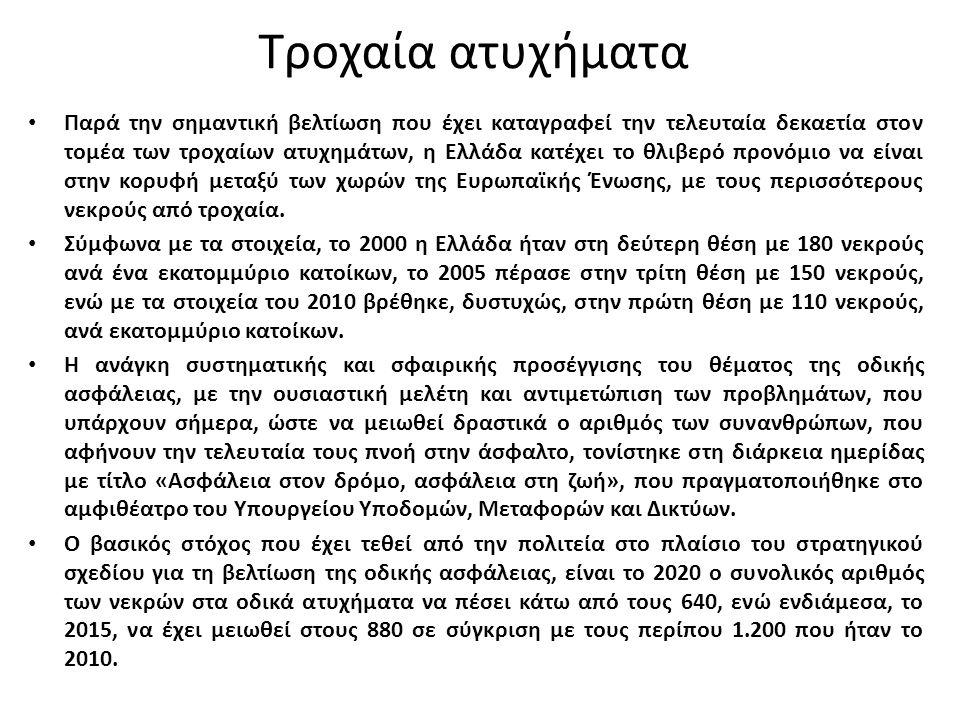 Τροχαία ατυχήματα Παρά την σημαντική βελτίωση που έχει καταγραφεί την τελευταία δεκαετία στον τομέα των τροχαίων ατυχημάτων, η Ελλάδα κατέχει το θλιβερό προνόμιο να είναι στην κορυφή μεταξύ των χωρών της Ευρωπαϊκής Ένωσης, με τους περισσότερους νεκρούς από τροχαία.
