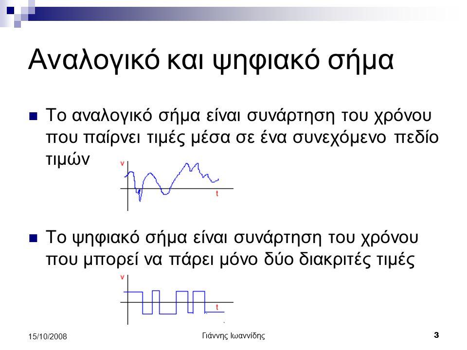 Γιάννης Ιωαννίδης 4 15/10/2008 Περίοδος και συχνότητα απλού ημιτονοειδούς σήματος Τι ονομάζουμε ημιτονοειδές σήμα Τι ονομάζουμε Περίοδο σήματος (T)[sec] Και τι συχνότητα (f) [Hz] f=1/T Φάσμα συχνοτήτων ημιτονοειδούς σήματος