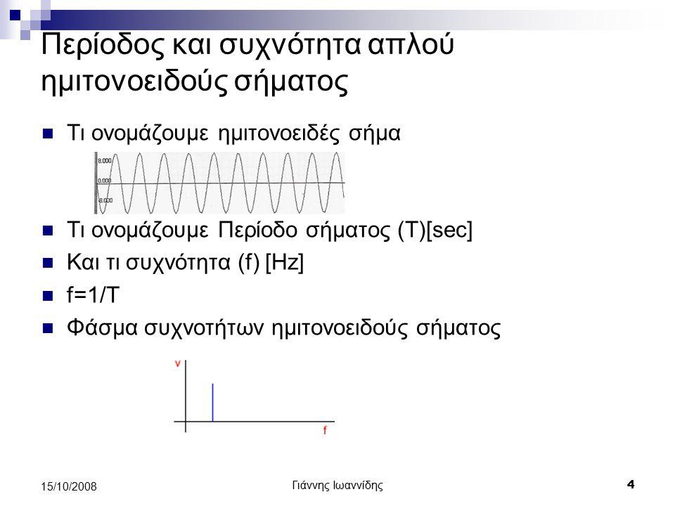Γιάννης Ιωαννίδης 5 15/10/2008 Σύνθεση-ανάλυση σημάτων Αν δημιουργήσουμε δύο αρμονικά σήματα (ημιτονοειδή) συχνότητας f1=500Hz και f2=1000Hz και τα εκπέμψουμε μαζί στην ίδια γραμμή θα πάρουμε σαν αποτέλεσμα το σύνθετο σήμα f Σ.