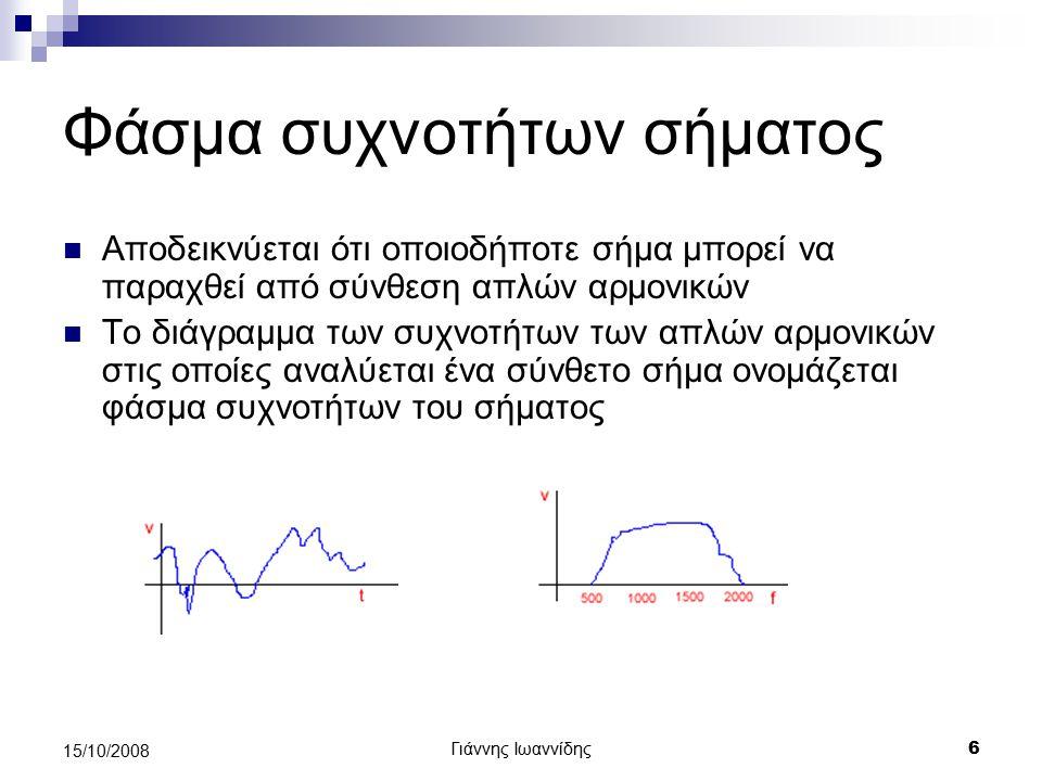 Γιάννης Ιωαννίδης 7 15/10/2008 Διαμόρφωση σήματος Διαμόρφωση πλάτους Διαμόρφωση συχνότητας Διαμόρφωση φάσης