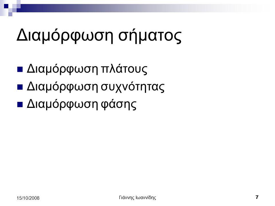 Γιάννης Ιωαννίδης 18 15/10/2008 Απλουστευμένο μοντέλο συστήματος επικοινωνίας Πηγή Πομπός Σύστημα μετάδοσης ΔέκτηςΠροορισμός Δημόσιο τηλεφωνικό δίκτυο
