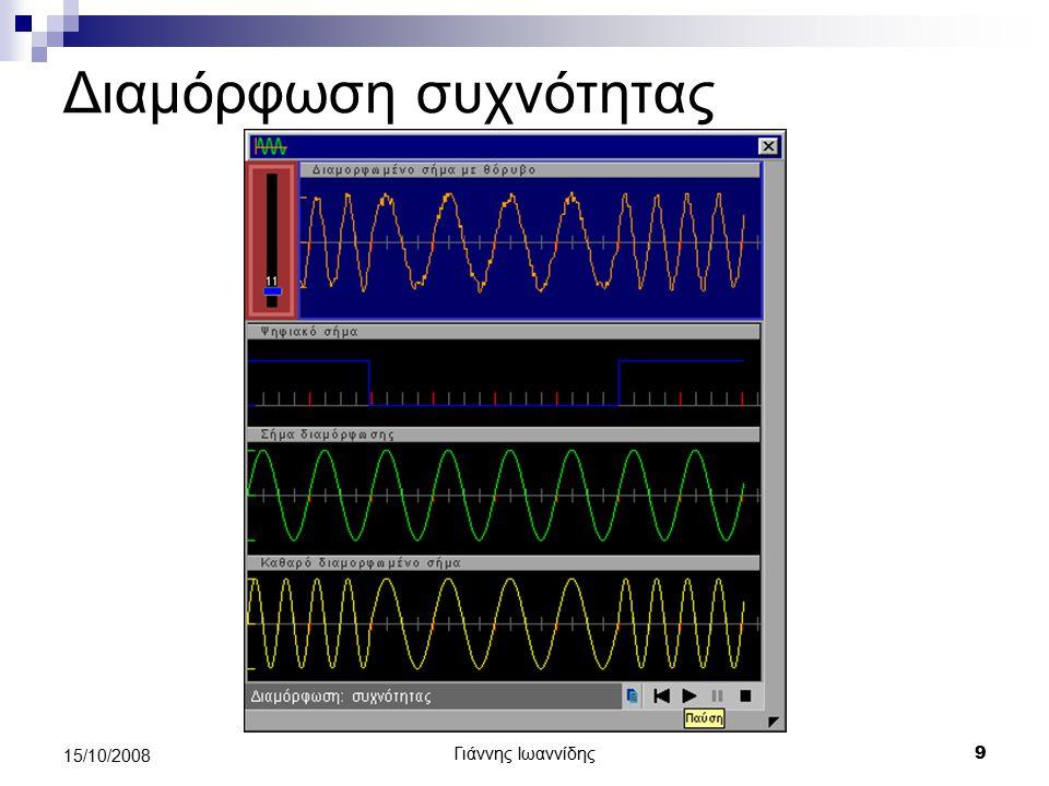 Γιάννης Ιωαννίδης 20 15/10/2008 Χωρητικότητα καναλιού Ορισμός: Ο μέγιστος ρυθμός που μπορεί να μεταδοθούν δεδομένα μέσα από ένα κανάλι επικοινωνίας ονομάζεται χωρητικότητα του καναλιού