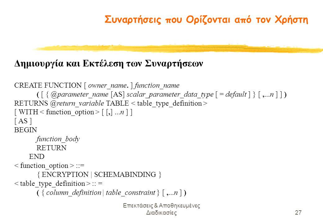 Επεκτάσεις & Αποθηκευμένες Διαδικασίες27 Δημιουργία και Εκτέλεση των Συναρτήσεων CREATE FUNCTION [ owner_name.