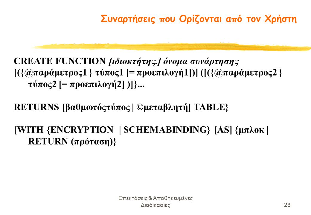 Επεκτάσεις & Αποθηκευμένες Διαδικασίες28 CREATE FUNCTION [ιδιοκτήτης.] όνομα συνάρτησης [({@παράμετρος1 } τύπος1 [= προεπιλογή1])] ([({@παράμετρος2 } τύπος2 [= προεπιλογή2] )]}...