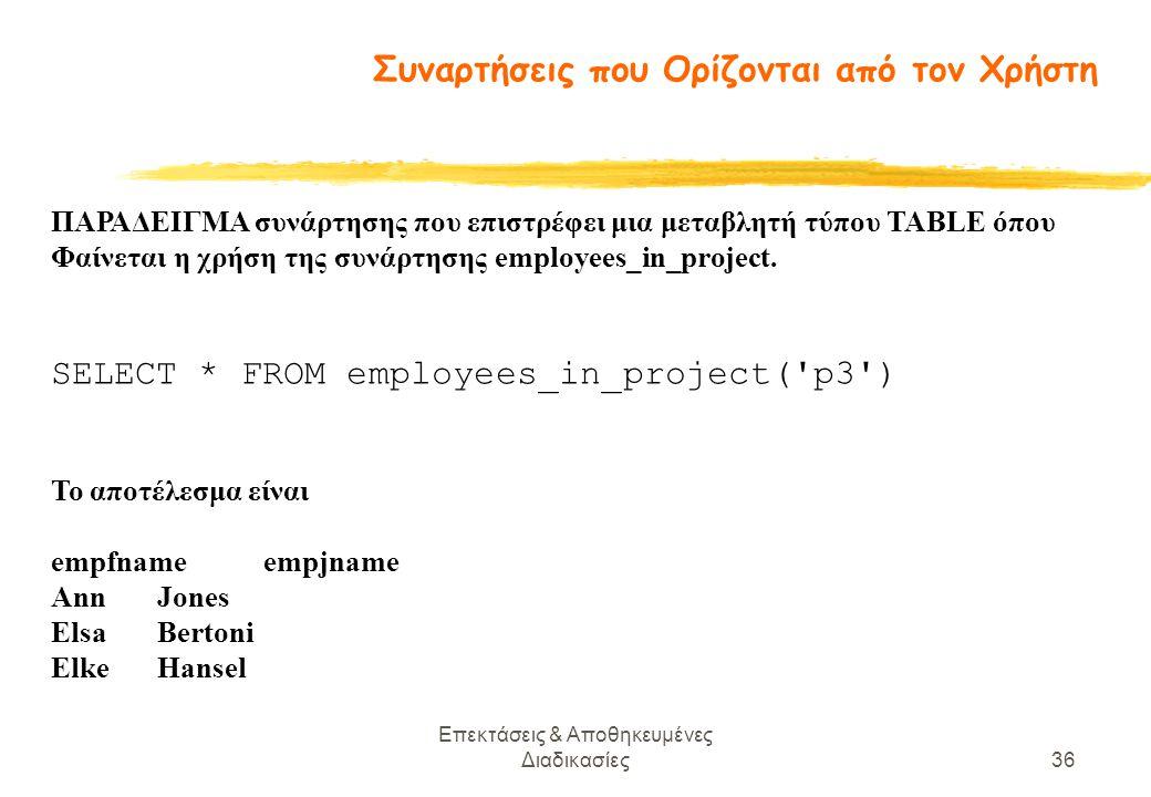 Επεκτάσεις & Αποθηκευμένες Διαδικασίες36 ΠΑΡΑΔΕΙΓΜΑ συνάρτησης που επιστρέφει μια μεταβλητή τύπου TABLE όπου Φαίνεται η χρήση της συνάρτησης employees_in_project.