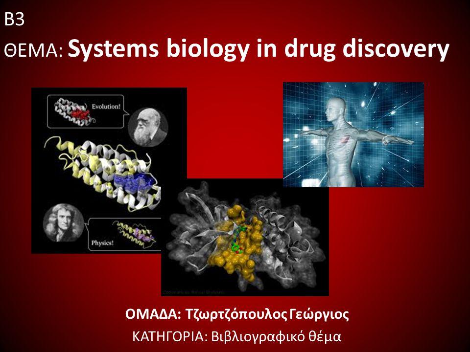 Συνοπτική περιγραφή… Συστημική βιολογία: θεωρία συστημάτων σε κύτταρα και οργανισμούς Υπολογιστική μοντελοποίηση δίκτυα διακίνησης σήματος, συλλογή δεδομένων, επικρατέστερες μέθοδοι και μαθηματικά μοντέλα Εφαρμοσμένα παραδείγματα μεταβολισμός, πρωτεΐνες και γονίδια Οφέλη στην ανακάλυψη φαρμάκων χρόνος, ψηφιακές προσομοιώσεις, εντοπισμός στόχου