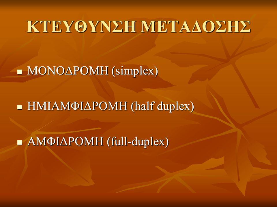 ΚΤΕΥΘΥΝΣΗ ΜΕΤΑΔΟΣΗΣ ΜΟΝΟΔΡΟΜΗ (simplex) ΜΟΝΟΔΡΟΜΗ (simplex) ΗΜΙΑΜΦΙΔΡΟΜΗ (half duplex) ΗΜΙΑΜΦΙΔΡΟΜΗ (half duplex) ΑΜΦΙΔΡΟΜΗ (full-duplex) ΑΜΦΙΔΡΟΜΗ (full-duplex)