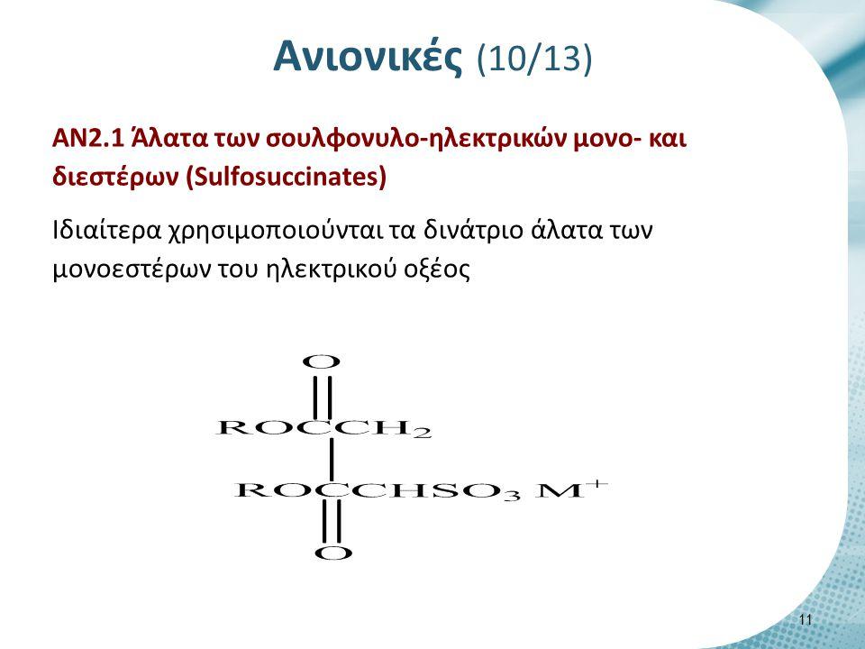Ανιονικές (10/13) ΑΝ2.1 Άλατα των σουλφονυλο-ηλεκτρικών μονο- και διεστέρων (Sulfosuccinates) Ιδιαίτερα χρησιμοποιούνται τα δινάτριο άλατα των μονοεστέρων του ηλεκτρικού οξέος 11