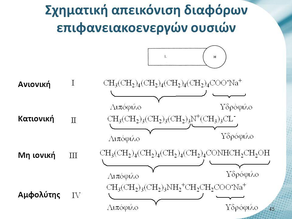Σχηματική απεικόνιση διαφόρων επιφανειακοενεργών ουσιών 45 Ανιονική Κατιονική Μη ιονική Αμφολύτης