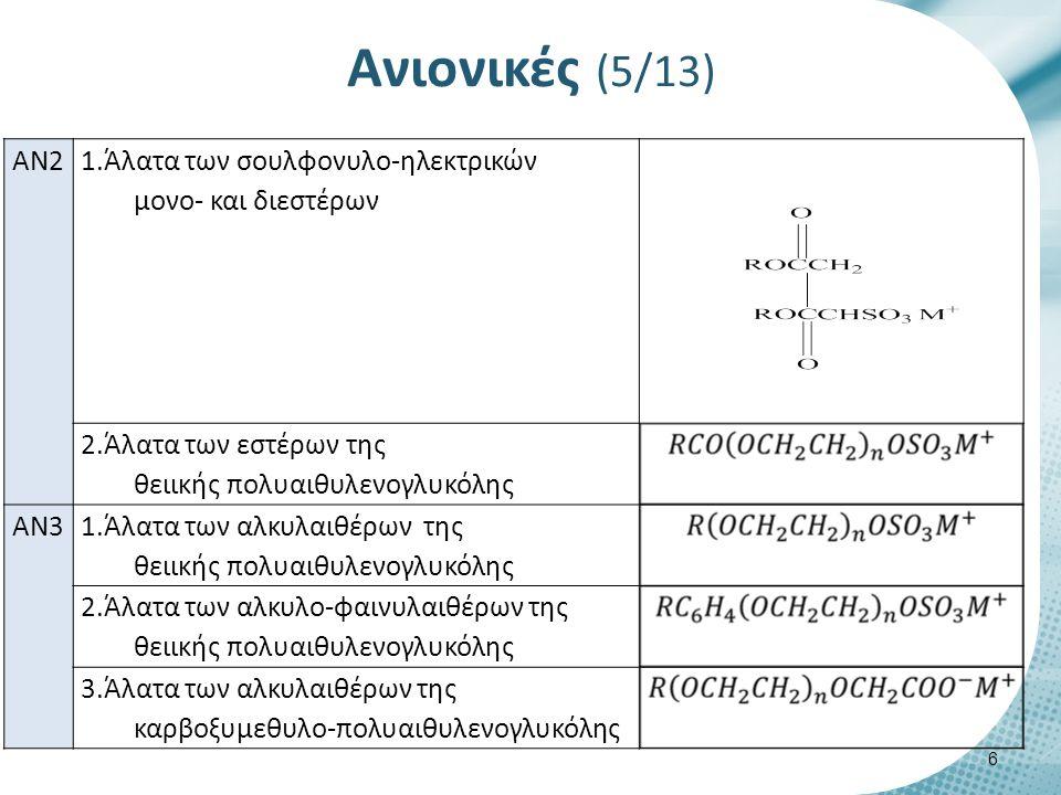 Επαμφοτερίζουσες ή αμφοτερικές (5/9) Επαμφοτερίζουσες ή αμφοτερικές 27 ΕΠ1 Αλκυλο-β- αμινοπροπιονικά οξέα (Αλκυλο-βεταΐνες) ΕΠ2Ακυλο-β- αμινοπροπιονικά οξέα (Ακυλο- βεταΐνες)
