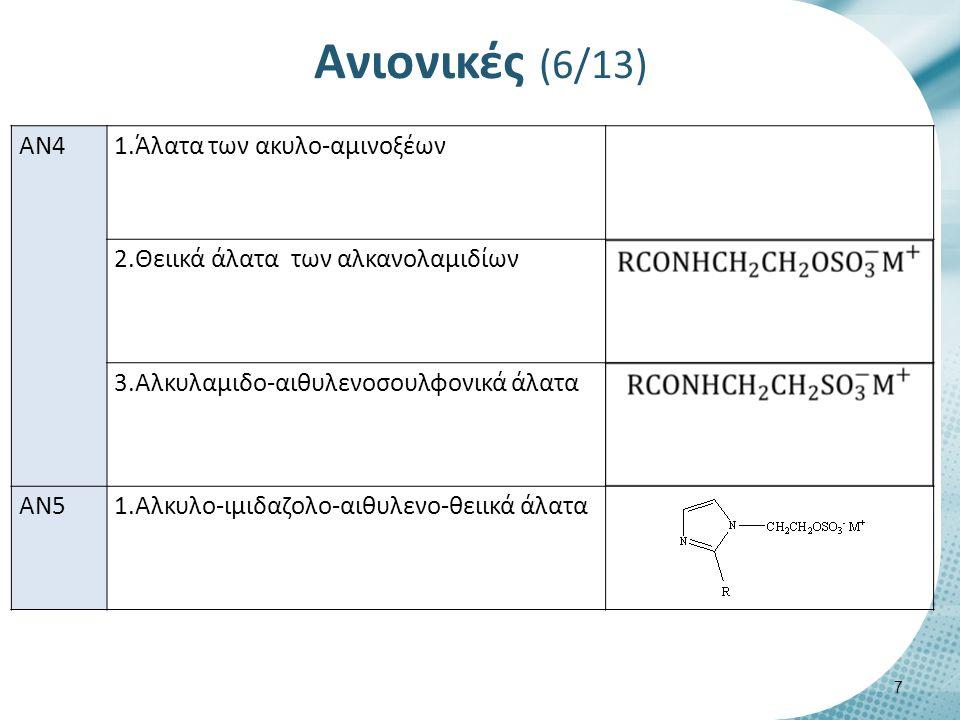 Ανιονικές (6/13) 7 AN4 1.Άλατα των ακυλο-αμινοξέων 2.Θειικά άλατα των αλκανολαμιδίων 3.Αλκυλαμιδο-αιθυλενοσουλφονικά άλατα AN51.Αλκυλο-ιμιδαζολο-αιθυλενο-θειικά άλατα