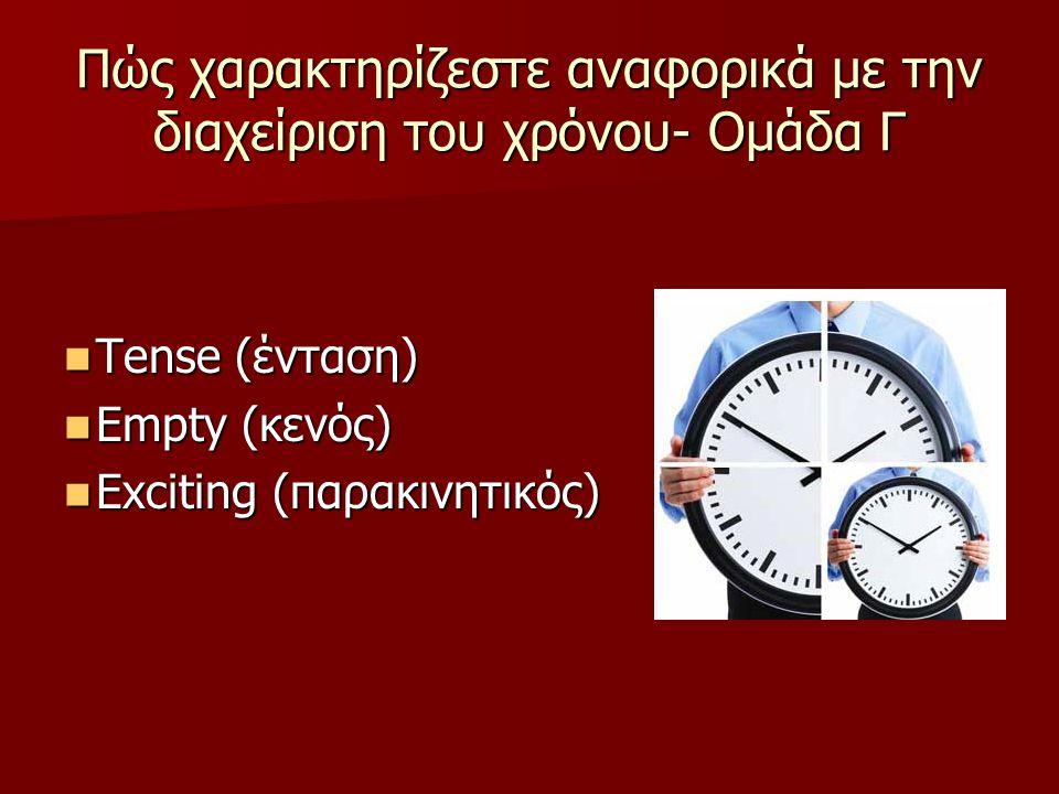 Πώς χαρακτηρίζεστε αναφορικά με την διαχείριση του χρόνου- Ομάδα Γ Tense (ένταση) Tense (ένταση) Empty (κενός) Empty (κενός) Exciting (παρακινητικός)