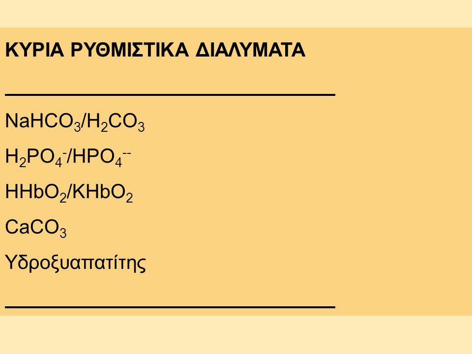 ΚΥΡΙΑ ΡΥΘΜΙΣΤΙΚΑ ΔΙΑΛΥΜΑΤΑ NaHCO 3 /H 2 CO 3 H 2 PO 4 - /HPO 4 -- HHbO 2 /KHbO 2 CaCO 3 Υδροξυαπατίτης