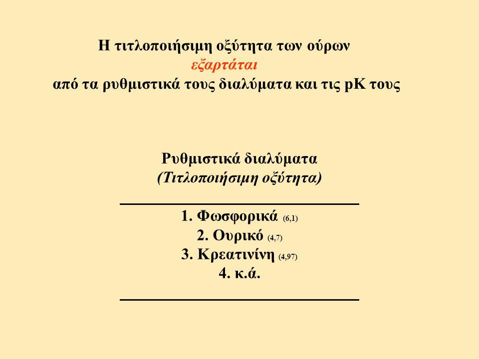 Η τιτλοποιήσιμη οξύτητα των ούρων εξαρτάται από τα ρυθμιστικά τους διαλύματα και τις pK τους Ρυθμιστικά διαλύματα (Τιτλοποιήσιμη οξύτητα) 1. Φωσφορικά