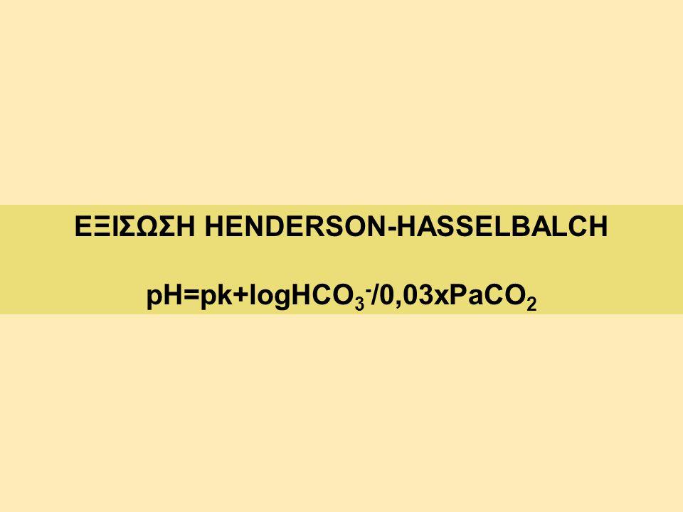 ΕΞΙΣΩΣΗ HENDERSON-HASSELBALCH pH=pk+logHCO 3 - /0,03xPaCO 2