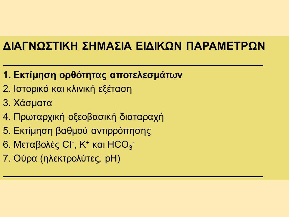 ΔΙΑΓΝΩΣΤΙΚΗ ΣΗΜΑΣΙΑ ΕΙΔΙΚΩΝ ΠΑΡΑΜΕΤΡΩΝ 1. Εκτίμηση ορθότητας αποτελεσμάτων 2. Ιστορικό και κλινική εξέταση 3. Χάσματα 4. Πρωταρχική οξεοβασική διαταρα