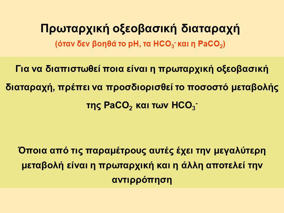 Πρωταρχική οξεοβασική διαταραχή (όταν δεν βοηθά το pH, τα HCO 3 - και η PaCO 2 ) Για να διαπιστωθεί ποια είναι η πρωταρχική οξεοβασική διαταραχή, πρέπ