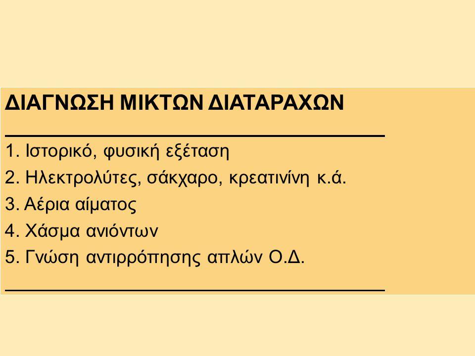 ΔΙΑΓΝΩΣΗ ΜΙΚΤΩΝ ΔΙΑΤΑΡΑΧΩΝ 1. Ιστορικό, φυσική εξέταση 2. Ηλεκτρολύτες, σάκχαρο, κρεατινίνη κ.ά. 3. Αέρια αίματος 4. Χάσμα ανιόντων 5. Γνώση αντιρρόπη