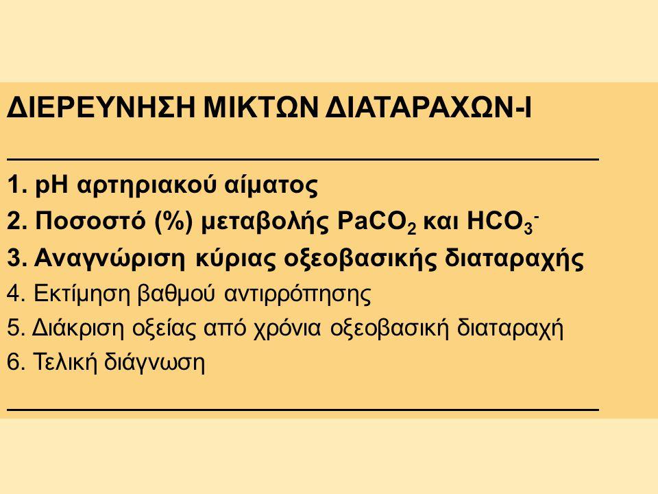 ΔΙΕΡΕΥΝΗΣΗ ΜΙΚΤΩΝ ΔΙΑΤΑΡΑΧΩΝ-I 1. pH αρτηριακού αίματος 2. Ποσοστό (%) μεταβολής PaCO 2 και HCO 3 - 3. Αναγνώριση κύριας οξεοβασικής διαταραχής 4. Εκτ