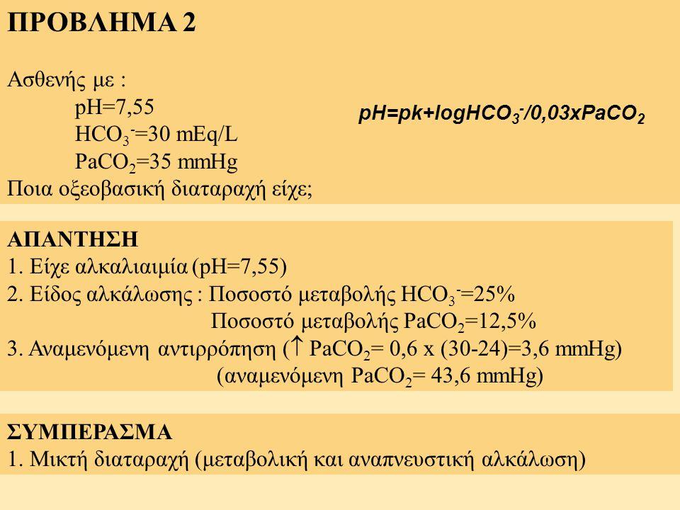 ΠΡΟΒΛΗΜΑ 2 Ασθενής με : pH=7,55 HCO 3 - =30 mEq/L PaCO 2 =35 mmHg Ποια οξεοβασική διαταραχή είχε; ΑΠΑΝΤΗΣΗ 1. Είχε αλκαλιαιμία (pH=7,55) 2. Είδος αλκά