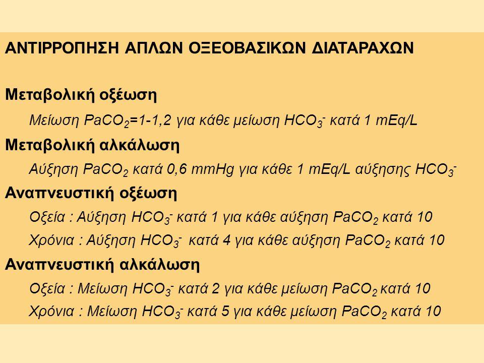 ΑΝΤΙΡΡΟΠΗΣΗ ΑΠΛΩΝ ΟΞΕΟΒΑΣΙΚΩΝ ΔΙΑΤΑΡΑΧΩΝ Μεταβολική οξέωση Μείωση PaCO 2 =1-1,2 για κάθε μείωση HCO 3 - κατά 1 mEq/L Μεταβολική αλκάλωση Αύξηση PaCO 2