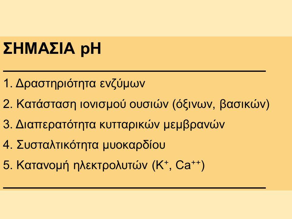 ΣΗΜΑΣΙΑ pH 1. Δραστηριότητα ενζύμων 2. Κατάσταση ιονισμού ουσιών (όξινων, βασικών) 3. Διαπερατότητα κυτταρικών μεμβρανών 4. Συσταλτικότητα μυοκαρδίου