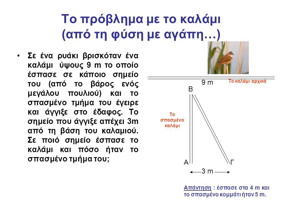 Το πρόβλημα με το καλάμι (από τη φύση με αγάπη…) Σε ένα ρυάκι βρισκόταν ένα καλάμι ύψους 9 m το οποίο έσπασε σε κάποιο σημείο του (από το βάρος ενός μ