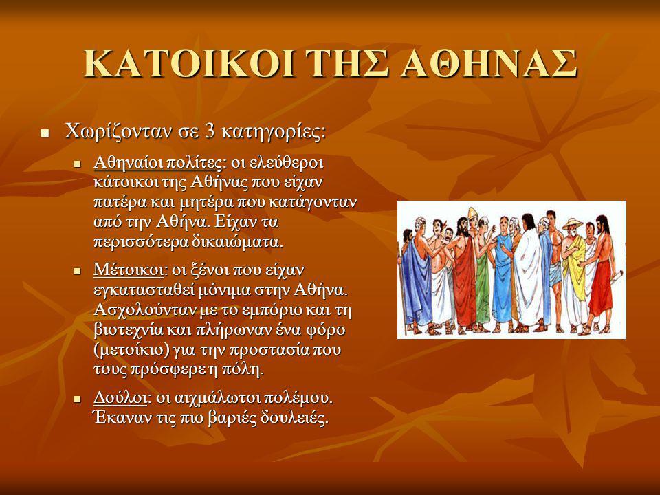 ΚΑΤΟΙΚΟΙ ΤΗΣ ΑΘΗΝΑΣ Χωρίζονταν σε 3 κατηγορίες: Χωρίζονταν σε 3 κατηγορίες: Αθηναίοι πολίτες: οι ελεύθεροι κάτοικοι της Αθήνας που είχαν πατέρα και μητέρα που κατάγονταν από την Αθήνα.