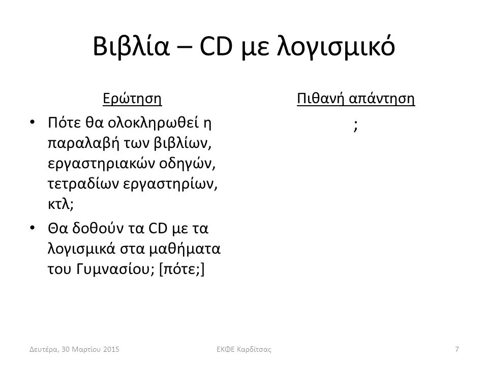 Βιβλία – CD με λογισμικό Ερώτηση Πότε θα ολοκληρωθεί η παραλαβή των βιβλίων, εργαστηριακών οδηγών, τετραδίων εργαστηρίων, κτλ; Θα δοθούν τα CD με τα λογισμικά στα μαθήματα του Γυμνασίου; [πότε;] Πιθανή απάντηση ; Δευτέρα, 30 Μαρτίου 2015ΕΚΦΕ Καρδίτσας7