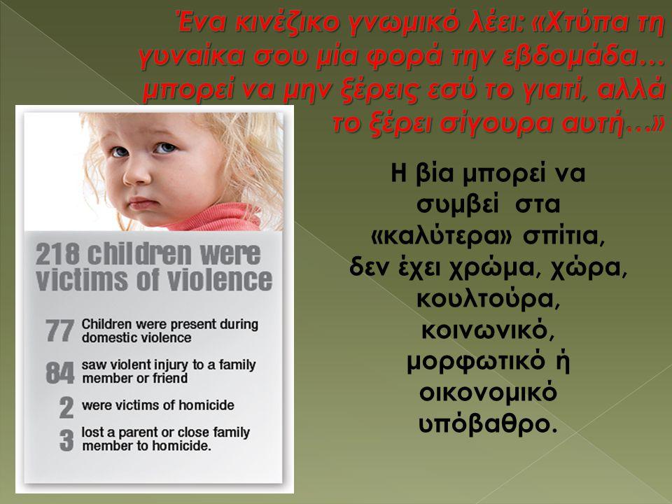 Χαρακτηριστικά γονέων που ασκούν σωματική βία:  Συναισθηματικές διαταραχές  Δυσκολία στον έλεγχο θυμού  Τάση για απότομη και κτητική συμπεριφορά  Χαμηλή αυτοεκτίμηση