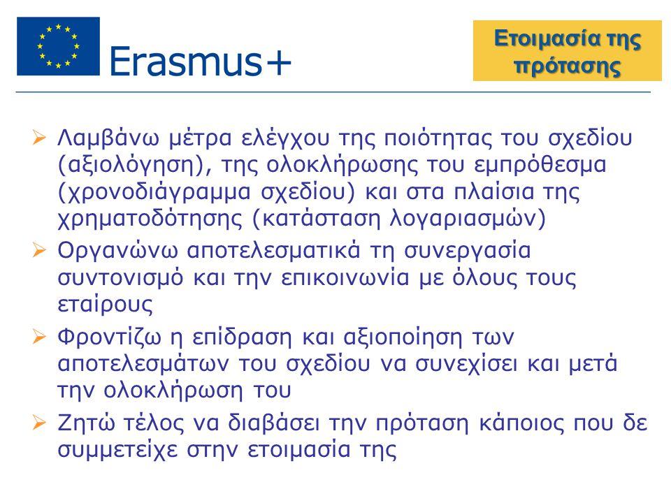 Ετοιμασία της πρότασης  Λαμβάνω μέτρα ελέγχου της ποιότητας του σχεδίου (αξιολόγηση), της ολοκλήρωσης του εμπρόθεσμα (χρονοδιάγραμμα σχεδίου) και στα πλαίσια της χρηματοδότησης (κατάσταση λογαριασμών)  Οργανώνω αποτελεσματικά τη συνεργασία συντονισμό και την επικοινωνία με όλους τους εταίρους  Φροντίζω η επίδραση και αξιοποίηση των αποτελεσμάτων του σχεδίου να συνεχίσει και μετά την ολοκλήρωση του  Ζητώ τέλος να διαβάσει την πρόταση κάποιος που δε συμμετείχε στην ετοιμασία της