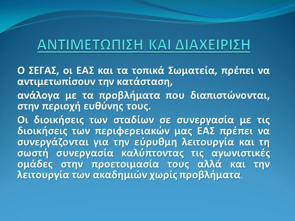 Ο ΣΕΓΑΣ, οι ΕΑΣ και τα τοπικά Σωματεία, πρέπει να αντιμετωπίσουν την κατάσταση, ανάλογα με τα προβλήματα που διαπιστώνονται, στην περιοχή ευθύνης τους.