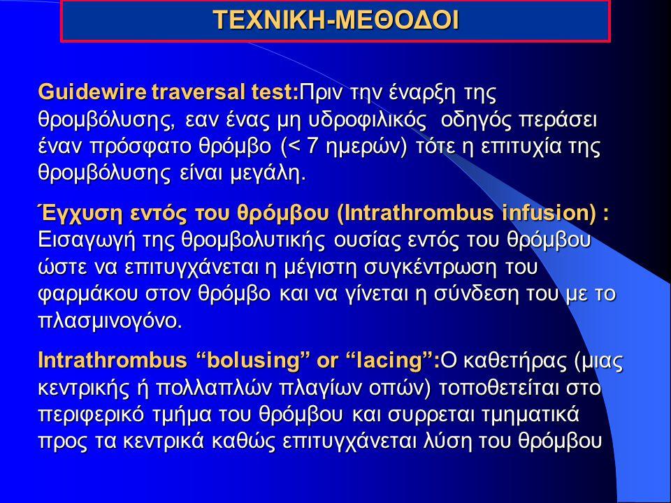 ΤΕΧΝΙΚΗ-ΜΕΘΟΔΟΙ Guidewire traversal test:Πριν την έναρξη της θρομβόλυσης, εαν ένας μη υδροφιλικός οδηγός περάσει έναν πρόσφατο θρόμβο (< 7 ημερών) τότ