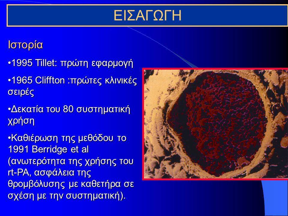 Σκοπός της θρομβόλυσης Διάλυση του θρόμβου και αποκατάσταση της περιφερικής αιμάτωσηςΔιάλυση του θρόμβου και αποκατάσταση της περιφερικής αιμάτωσης Ανάδειξη της υποκείμενης βλάβης και περαιτέρω διόρθωσής της (ενδαγγειακά ή χειρουργικά)Ανάδειξη της υποκείμενης βλάβης και περαιτέρω διόρθωσής της (ενδαγγειακά ή χειρουργικά)
