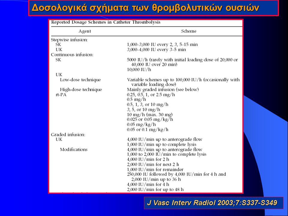 6 μελέτες με 336 ασθενείς (Berridge 1991,Braithwaite 1997,Cragg 1991, Duda 2001, Kandarpa 1993, Yusuf 1995) Aποτελέσματα Η ενδαρτηριακή έγχυση θρομβολυτικής ουσιάς είναι πιο αποτελεσματική από τη συστηματική ενδοφλέβια έγχυση, η οποία συνοδεύεται με υψηλό ποσοστό αιμορραγικών επιπλοκών.Η ενδαρτηριακή έγχυση θρομβολυτικής ουσιάς είναι πιο αποτελεσματική από τη συστηματική ενδοφλέβια έγχυση, η οποία συνοδεύεται με υψηλό ποσοστό αιμορραγικών επιπλοκών.
