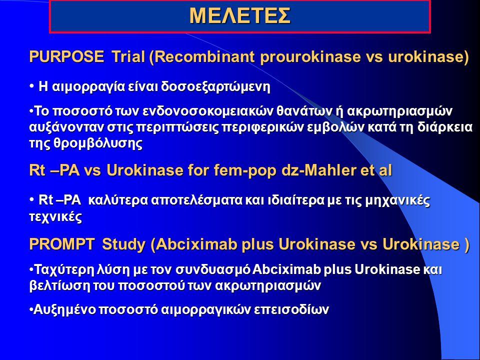 ΜΕΛΕΤΕΣ PURPOSE Trial (Recombinant prourokinase vs urokinase) Η αιμορραγία είναι δοσοεξαρτώμενη Το ποσοστό των ενδονοσοκομειακών θανάτων ή ακρωτηριασμ