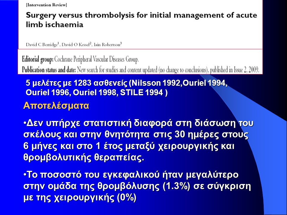 Aποτελέσματα Οι μείζονες αιμορραγικές επιπλοκές στις 30 ημέρες ήταν περισσότερες στην ομάδα της θρομβόλυσης (8.8%) σε σύγκριση με της χειρουργικής (3.3%).