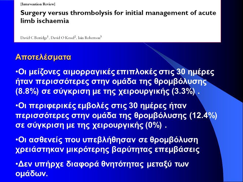 Aποτελέσματα Οι μείζονες αιμορραγικές επιπλοκές στις 30 ημέρες ήταν περισσότερες στην ομάδα της θρομβόλυσης (8.8%) σε σύγκριση με της χειρουργικής (3.